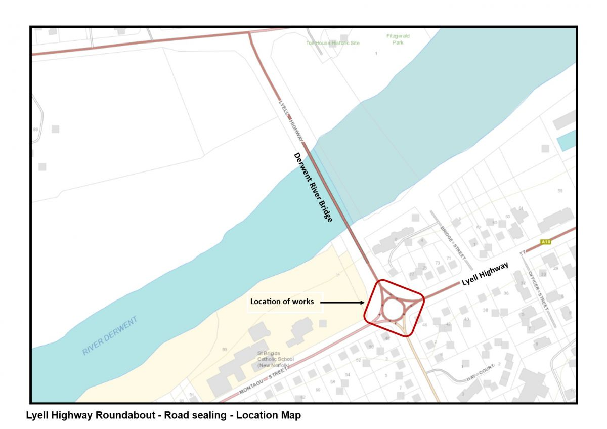 Lyell Hwy Roadabout Road Sealing- Location map