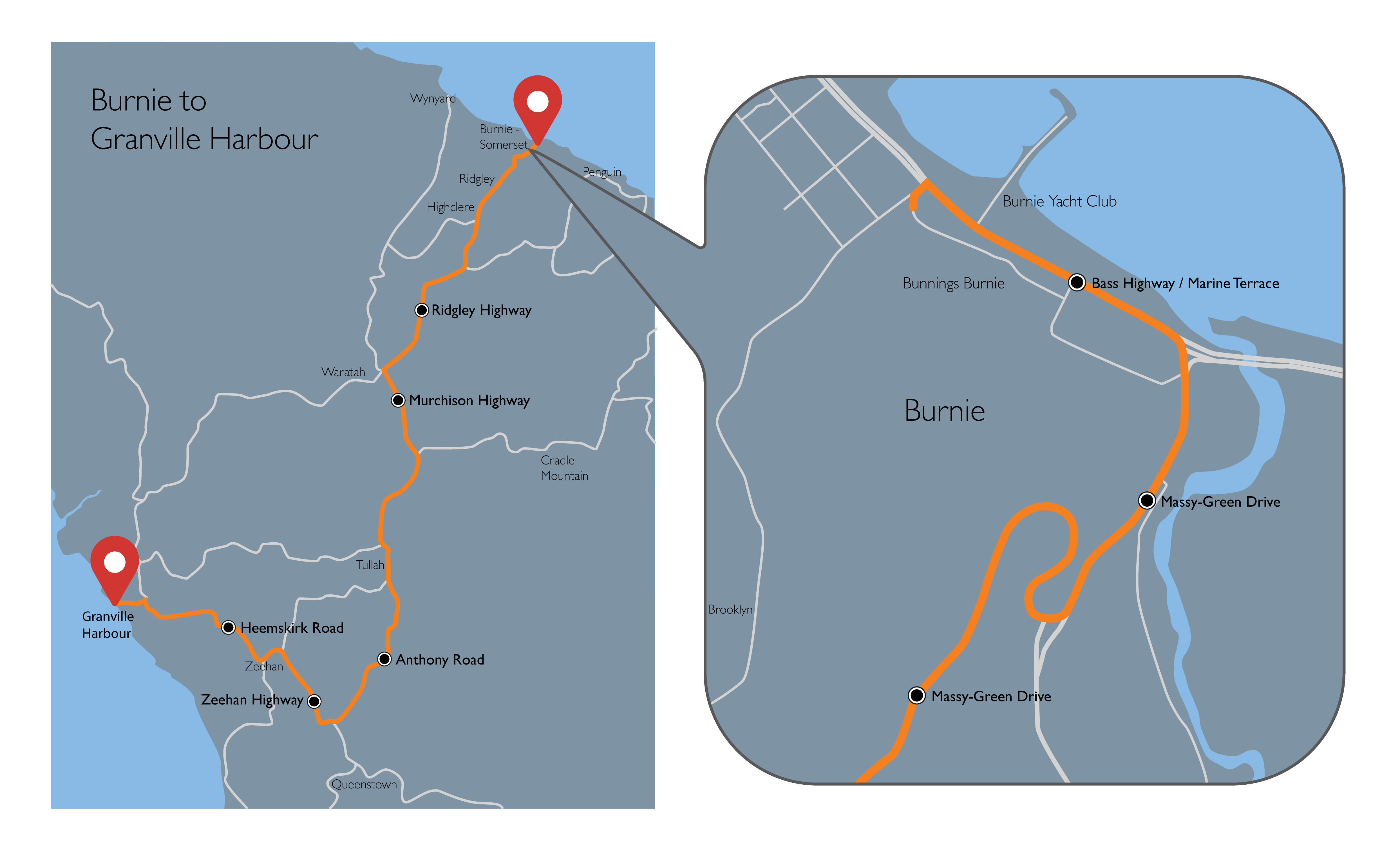 Burnie to Granville Harbour map